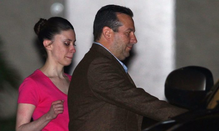 Casey Anthony (L) and her defense attorney Jose Baez leave the Booking and Release Center at the Orange County Jail after she was acquitted of murdering her daughter Caylee Anthony on July 16, 2011, in Orlando, Fla. Anthony has a court appointment on March 4 to answer questions about her bankruptcy claim. (Mark Wilson/Getty Images)
