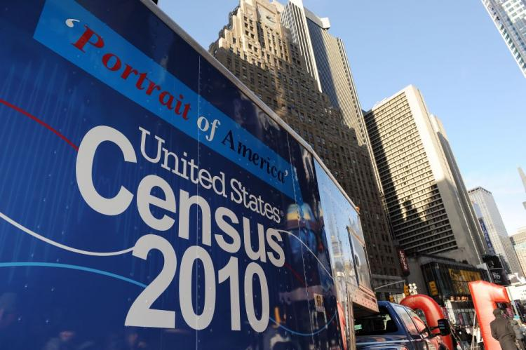 A truck arrives for the launch of the 2010 Census Portrait of America Road Tour on January 4 in New York's Times Square, part of the largest civic outreach and awareness campaign in US history. (Stan Honda/AFP/Getty Images)