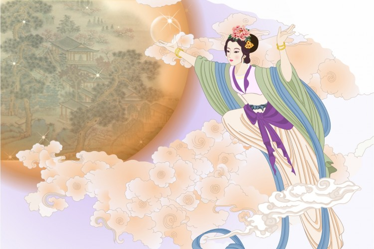 The graceful moonlight and Chang'e.  (Ziyou Huang/The Epoch Times)
