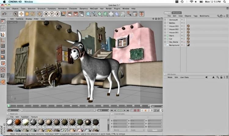 Provided images of a donkey and Mexican town are rendered in Maxon Cinema 4D Release 11.5. The software allows for advanced 3D rendering and animation. (The Epoch Times)