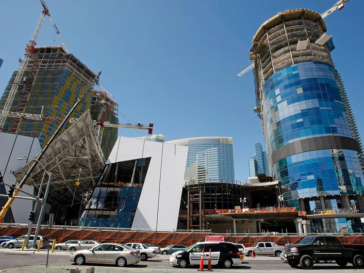 Construction continues on CityCenter, a $9 billion mixed-use urban development center on the Las Vegas Strip on March 27 in Las Vegas.   (Ethan Miller/Getty Images)