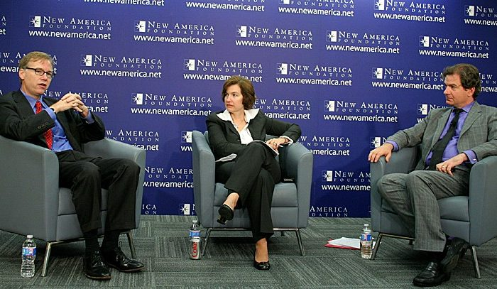 """The New American Foundation hosted a discussion on """"Reflections on the Post-9/11 Decade"""" on Sept. 7. In attendance were (L-R) Steve Coll, president, New America Foundation; Susan Glasser, editor-in-chief, Foreign Policy magazine; and Peter Bergen, director, National Security Studies Program of the New America Foundation. (Gary Feuerberg/Epoch Times)"""