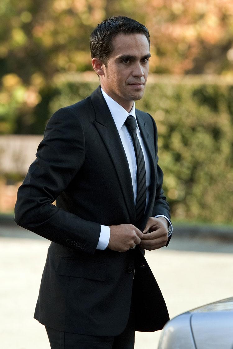 Alberto Contador arrives for his hearing before the CAS.