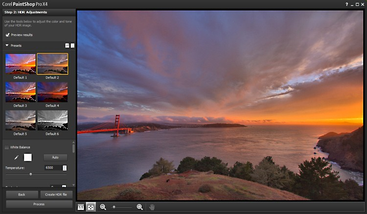 A set of photographs are being merged through the new HDR feature in Corel PaintShop Pro X4. (Corel)