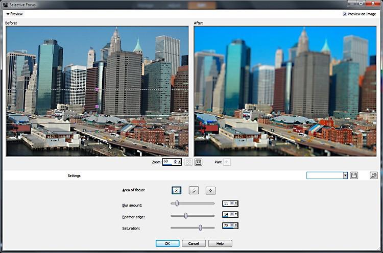 The new 'Selective Focus' feature is shown creating a tilt-shift image in a screenshot of Corel PaintShop Pro X4. (Corel)