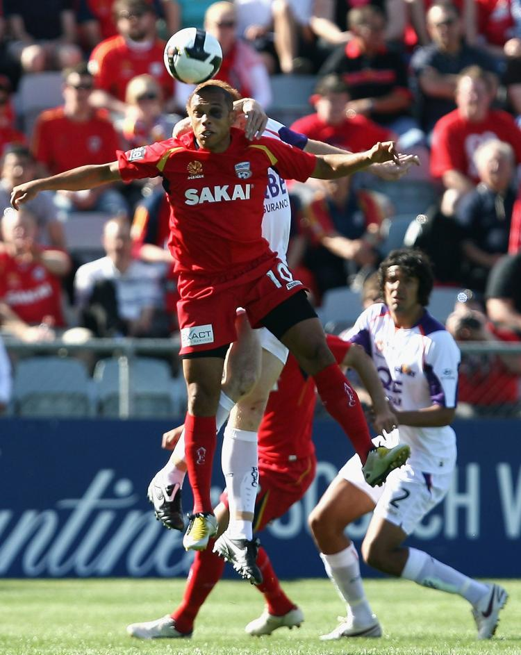 Cristiano of United heads the ball during the round nine A-League match between Adelaide United and Perth Glory at Hindmarsh Stadium on October 26, 2008 in Adelaide, Australia. (Simon Cross/Getty Images)
