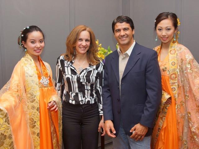 Christina Santos (2nd L) and Lucio Souza (2nd R) after enjoying Shen Yun