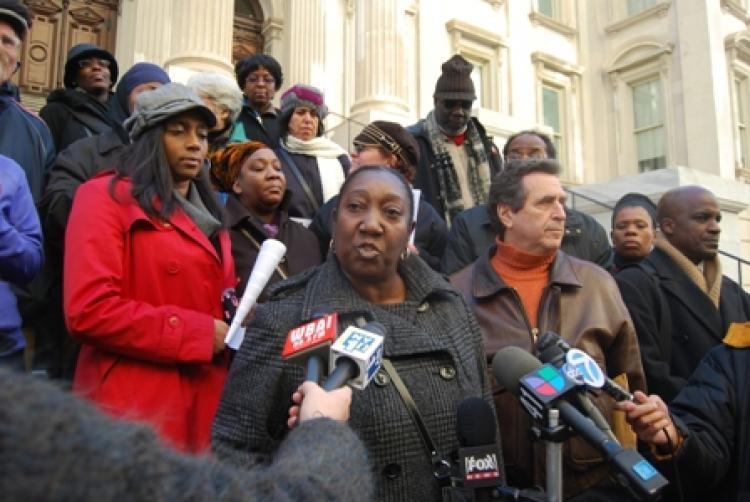 WAVERING:A coalition of parents and educators from across the city gathered at the Tweed Courthouse on Sunday to urge State Education Commissioner David Steiner to deny a waiver permitting publishing executive Cathie Black to become the next schools chancellor. Public school teacher Carmen Applegate (C) argues that appointing Black as chancellor would be irresponsible to the future of New York City, while attorney Norman Siegel looks on (R). (Catherine Yang/The Epoch Times)