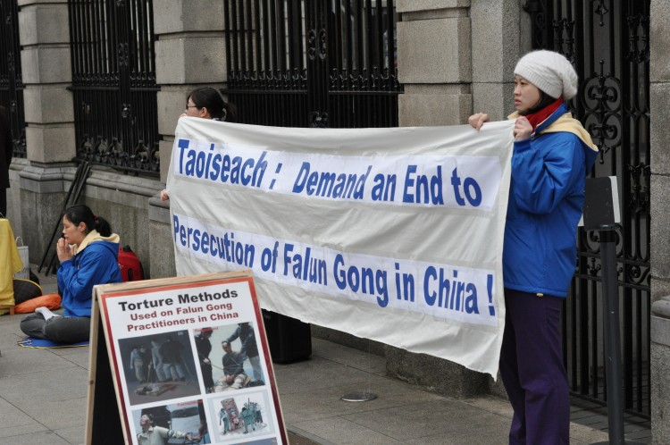 Before Taoiseach (Prime Minister) Enda Kenny's recent trip to China, Falun Gong practitioners held a rally outside government buildings where they asked him to demand an end to the persecution of Falun Gong when he met the leaders in China (Martin Murphy/The Epoch Times)