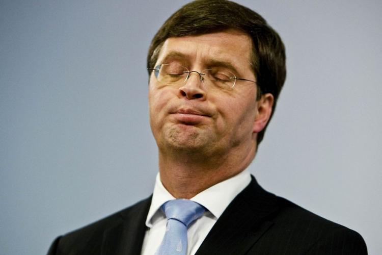 Dutch prime minister Jan Peter Balkenende delivers a speech after he announced that his government had collapsed in The Hague on Feb. 20. The Dutch government fell after coalition parties clashed over a NATO request to extend the Netherlands' military mission in Afghanistan, the prime minister said. (Valerie Kuypers/AFP/Getty Images)