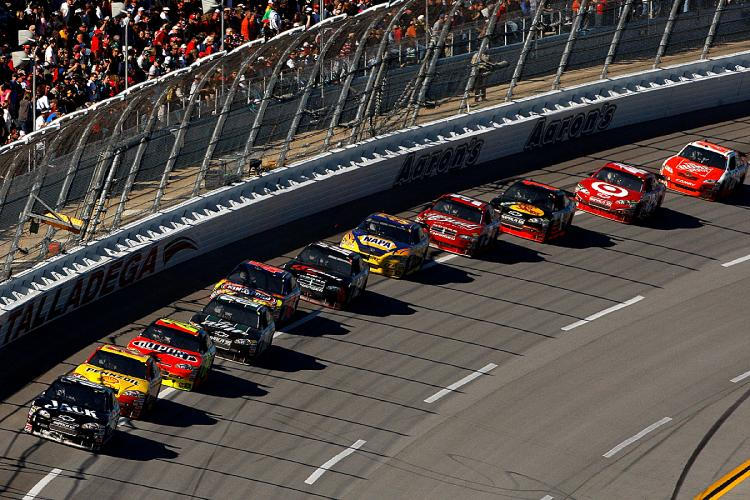 The field spent most of the race single file, afraid to race for fear of being penalized, or being wrecked. (Chris Graythen/Getty Images)