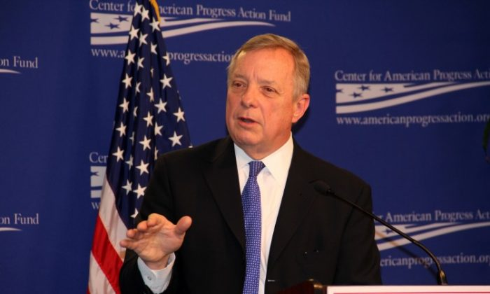 Sen. Dick Durbin (D-Ill.) speaks at the Center for American Progress in a file photo. (Shar Adams/The Epoch Times)