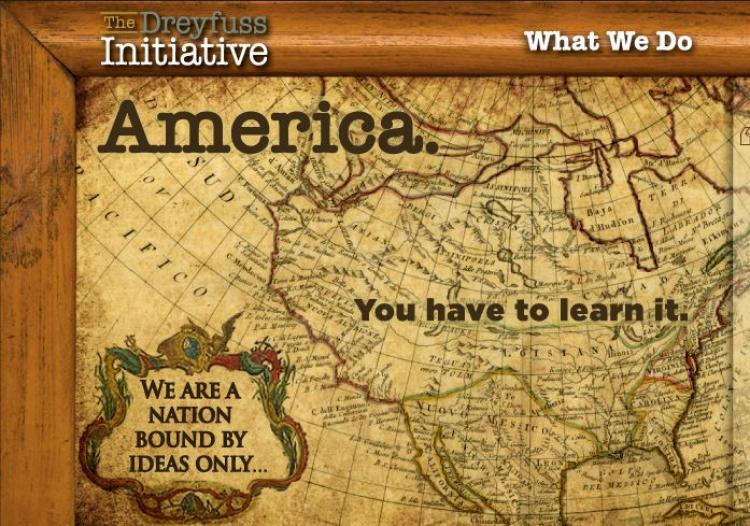 UNDERSTANDING AMERICA: A screen grab from the website of The Dreyfuss Initiative, an organization that provides a platform for educators, sponsors and supporters who value the importance of civics and its role in public education, initiated by actor Richard Dreyfuss. (Jim Fogarty/The Epoch Times)