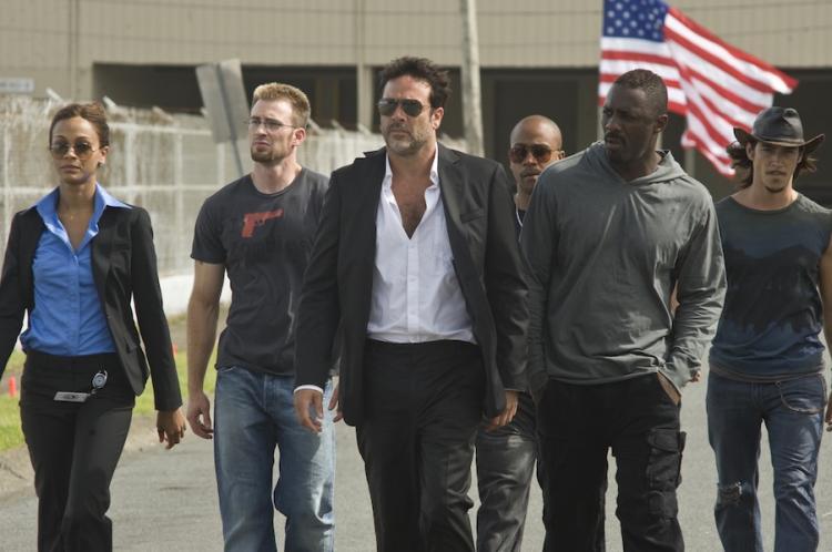 Zoe Saldana, Chris Evans, Jeffrey Dean Morgan and Idris Elba go on a revenge mission in 'The Losers' (Courtesy of Optimum Releasing)