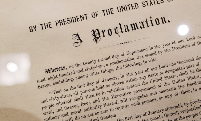 One of only 25 copies of the Emancipation Proclamation: Abraham Lincoln's historic edict that led to outlawing slavery in America. The document, originally a military measure, is now 150 years old. (Chris Hondros/Getty Images)