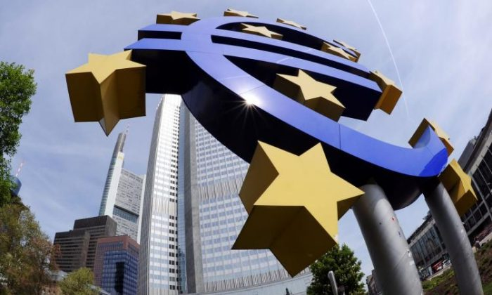 A giant symbol of the European Union's currency the Euro stands outside the headquarters of the European Central Bank.  (Thomas Lohnes/Getty Images)
