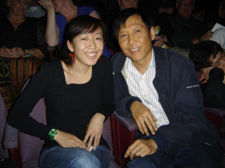 Dr. Lin and his daughter Laura at the Sarasota performance.  (Mark Zou/The Epoch Times )