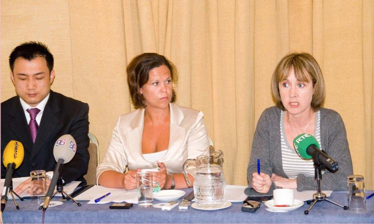 Press conference in Dublin to highlight Eutelsat's closure of NTDTV signal into China, Mr Feng Liu NTDTV (L), Ms Mary Lou McDonald MEP and Ms Patricia McKenna (R) (Martin Murphy/The Epoch Times)