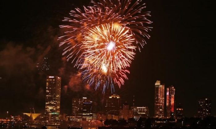 Fireworks explode during a July Fourth fireworks show on the shore of Lake Michigan. The Fourth of July holiday is based on the signing of the Declaration Of Independence on July 4, 1776. (Darren Hauck/Getty Images)