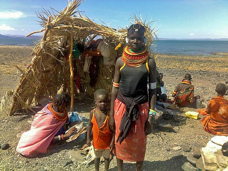 WATER IS EVERYTHING: A tribal fishing camp at Lake Turkana that straddles Ethiopia and Kenya. The 800,000 some people that rely on the lake's waters are coming into increasing conflict as the waters dry up. (Courtesy of Makambo Lotorobo/Friends of Turkana)