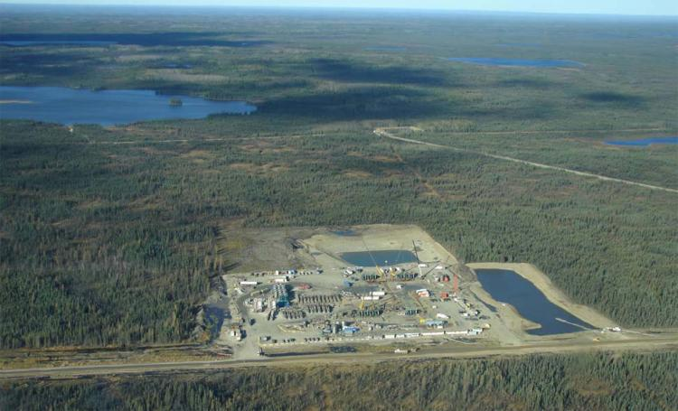 EnCana's hydraulic fracturing site at Two Island Lake in B.C., one of the largest and longest frack sites in the world. To frack all 14 wells, it is estimated that EnCana used 1.8 million cubic metres of water, 78,400 tonnes of sand, and up to 36,000 cubic metres of chemicals. (Photo courtesy of Wil Koop)