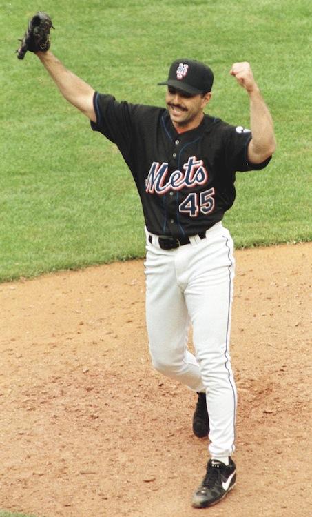 New York Mets pitcher John Franco celebrates strik