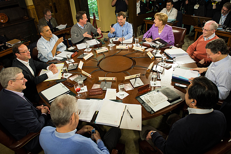 Leaders of the G8 meet at Camp David on May 19, 2012 in Maryland