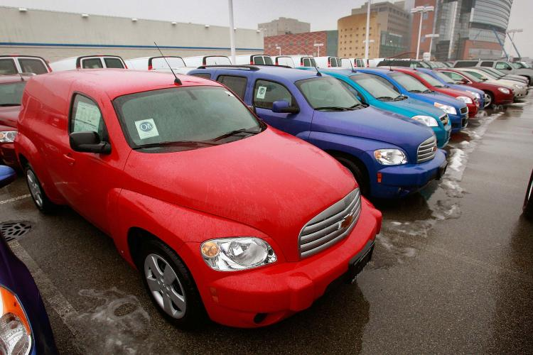 Cars and trucks are offered for sale at a Chevrolet dealership in Park Ridge, Illinois. General Motors Corp., may have to file for bankruptcy under the direction of the Obama administration. (Scott Olson/Getty Images)