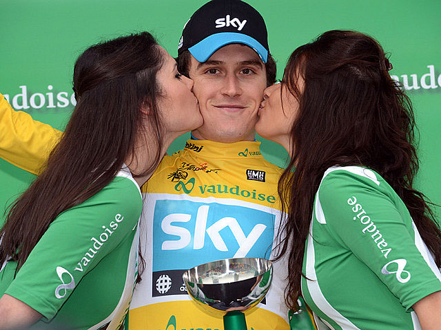 Gerraint Thomas of Sky Procycling won the Prologue and leader's yellow jersey at the Tour of Romandie. (skyteam.com)