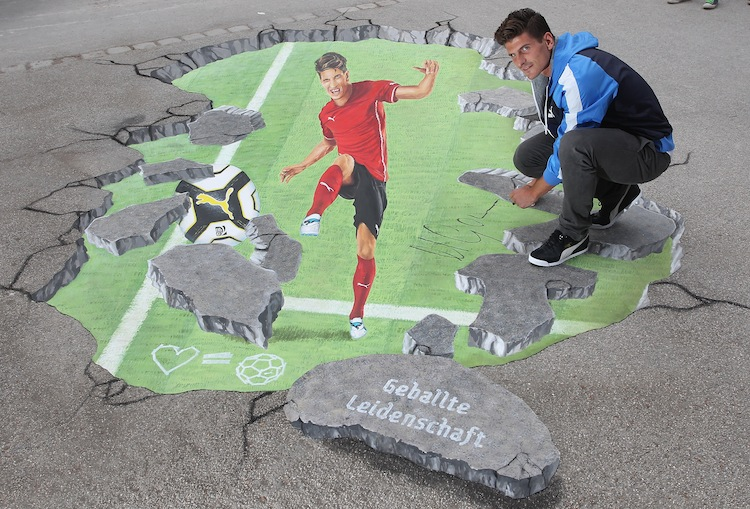 Mario Gomez And PUMA Sign 3D Painting In Munich
