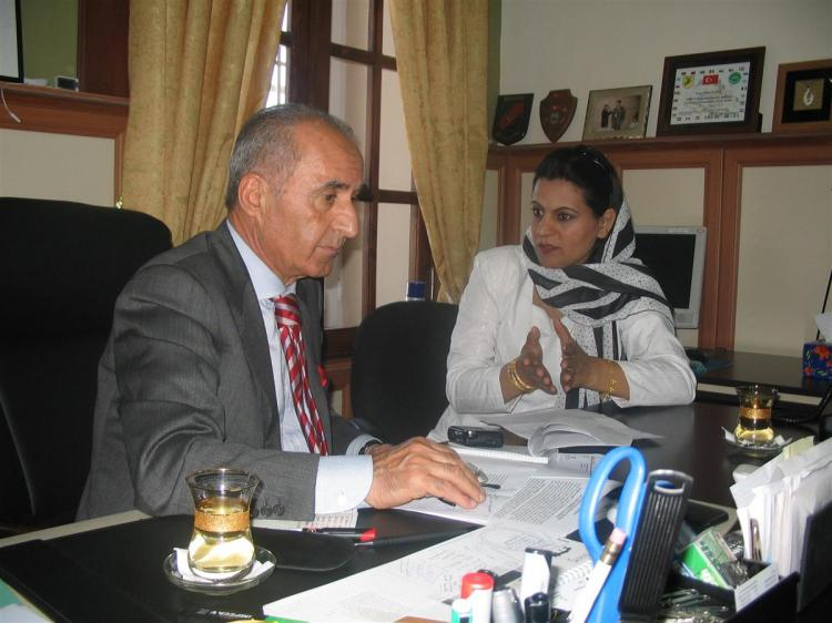 Afghan journalist Farida Nekzad interviewing Hekmat Chiten, the head of NATO in Afghanistan, in 2006. Journalists in Afghanistan are increasingly at risk, according to a new report. (Photo courtesy of IWMF)