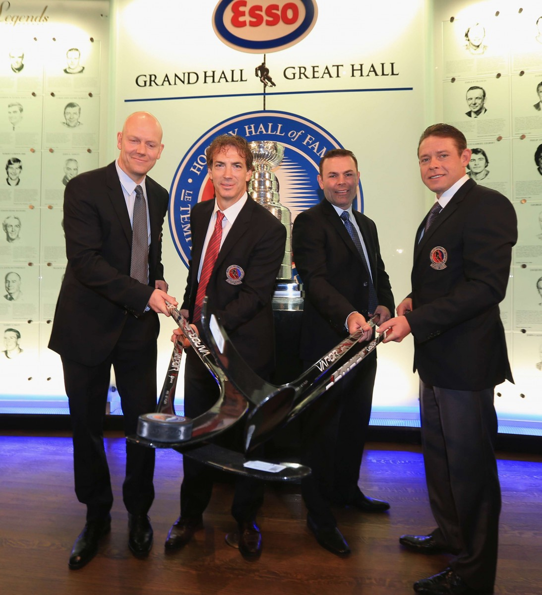 From left to right, Mats Sundin, Joe Sakic, Adam Oates, and Pavel Bure pose at the Hockey Hall of Fame in Toronto on Nov. 12, 2012. All four were inducted into the Hall of Fame on Monday night. (Bruce Bennett/Getty Images)