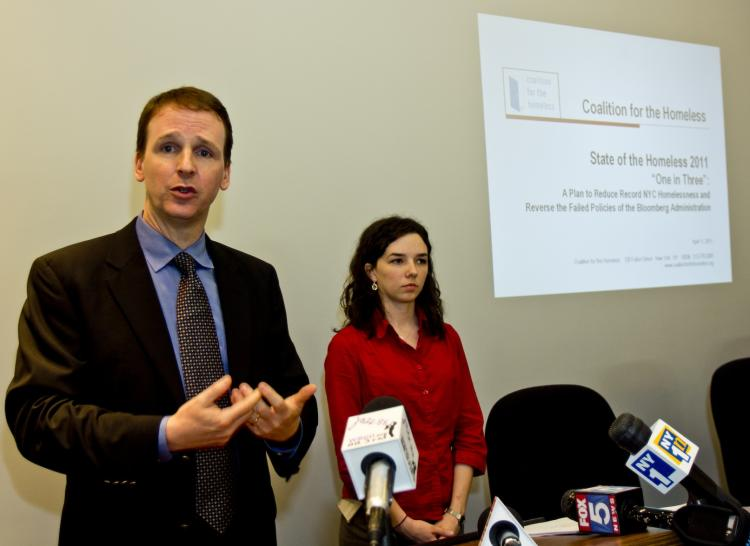 COMBATING HOMELESSNESS RISE: Coalition for the Homeless senior policy analyst Patrick Markee (L) and policy analyst Giselle Routhier (R), on Monday, call for a 'one in three' policy to stem the rising number of homeless people in the city.  (Phoebe Zheng/The Epoch Times)
