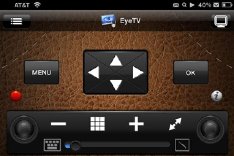 iPHONE REMOTE: A screenshot of the Remote HD iPhone app shows its TV remote controls.  (Tan Truong/The Epoch Times)