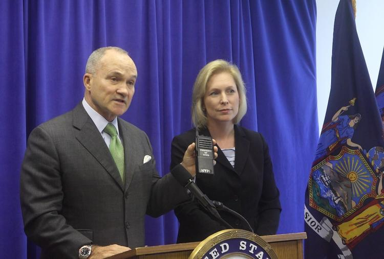 BETTER TECHNOLOGY NEEDED: At a press conference, New York City Police Commissioner Raymond Kelly (L) and U.S. Sen. Kirsten Gillibrand urge Congress to pass the Public Safety Spectrum and Wireless Innovation Act for an improved wireless communication system for emergency responders.  (Gary Du/The Epoch Times)