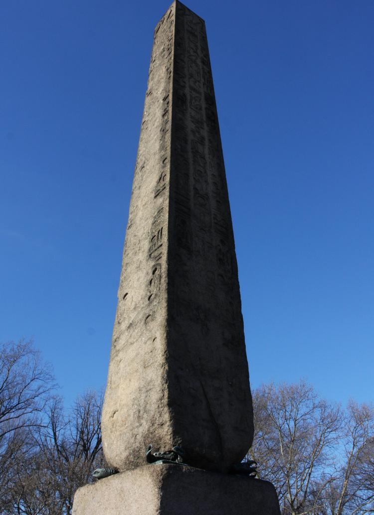 CLEOPATRA'S NEEDLE: Known as Cleopatra's Needle, the granite obelisk in Central Park actually has no historical connection with the Egyptian queen. It celebrates the long reign of Pharaoh Thutmose III.  (Tara MacIsaac/The Epoch Times)