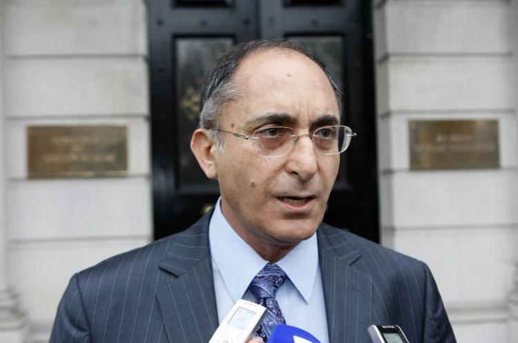 Israeli ambassador to Ireland, Dr. Zion Envrony leaves after a meeting at the Department of Foreign Affairs in Dublin, Ireland, on Feb. 18. Britain and Ireland summoned Israel's envoys Thursday over the use of fake passports by the killers of a Hamas ch (Peter Muhly/AFP/Getty Images)