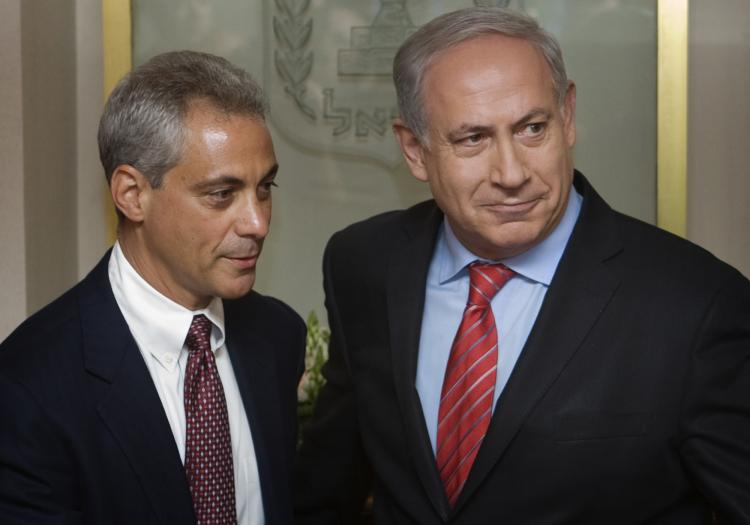White House Chief of Staff Rahm Emanuel (L) meets with Israel Prime Minister Benjamin Netanyahu (R) in the Prime Minister's office May 26, in Jerusalem, Israel. Rahm Emanuel is currently in Israel on vacation and officially invited Netanyahu for a meeting with U.S. President Barack Obama. (Sebastian Scheiner-Pool/Getty Images)