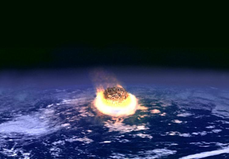 An artist's conception of a giant asteroid hitting the early earth. (Courtesy of NASA)