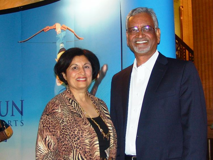 Rita and Ved Yadava, both physicians, at Shen Yun Performing Arts in Chicago. (Charlie Lu/The Epoch Times)