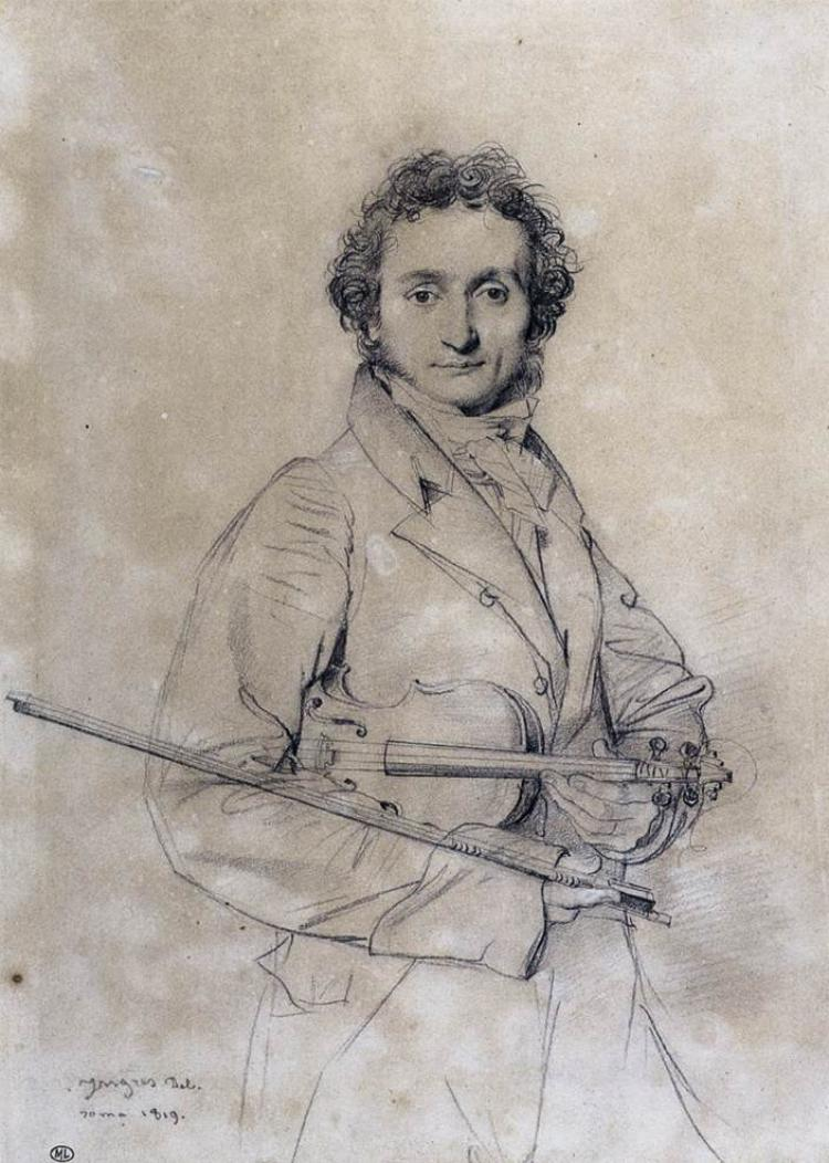This portrait of Nicolò Paganini by the French artist Jean-August-Dominique Ingres was drawn in pencil in 1819.  The composers caprices will be played in the final round of NTDTV's Chinese Violin Competition on July 26.  (www.paganini.com)