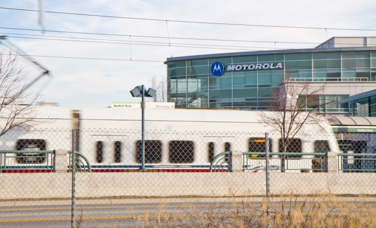 A light rail transit train arrives near Motorola Mobility's Silicon Valley office