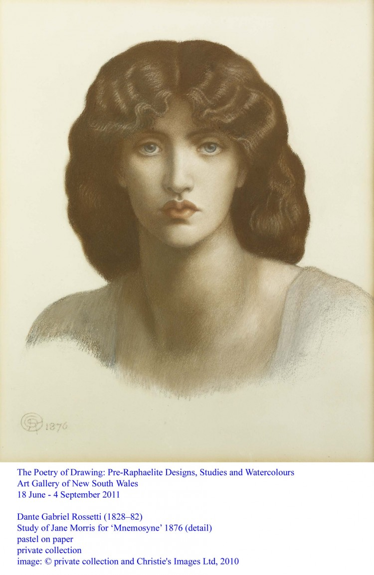 Dante Gabriel Rossetti, Study of Jane Morris for Mnemosyne, 1876, pastel on paper, Private collection.