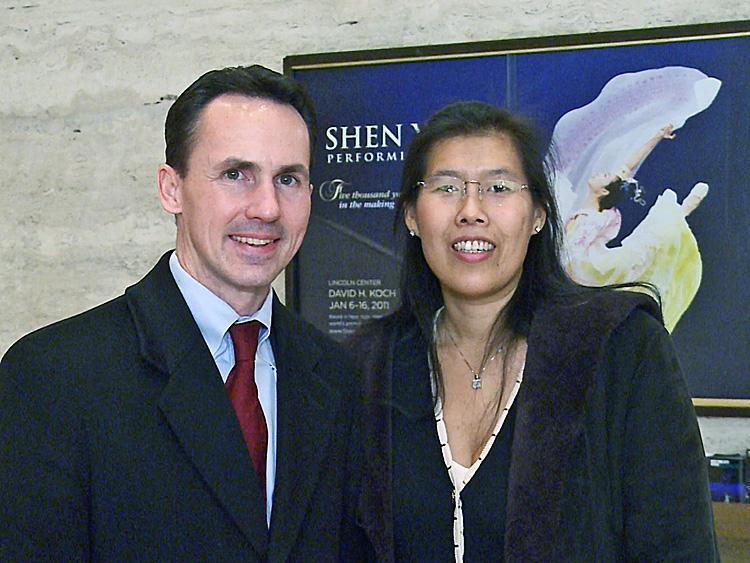 Attorney John Messer and his wife Wendy attended the final performance of Shen Yun Performing Arts New York Company's ten-show engagement at the David H. Koch Theater. (Courtesy of NTD Television)