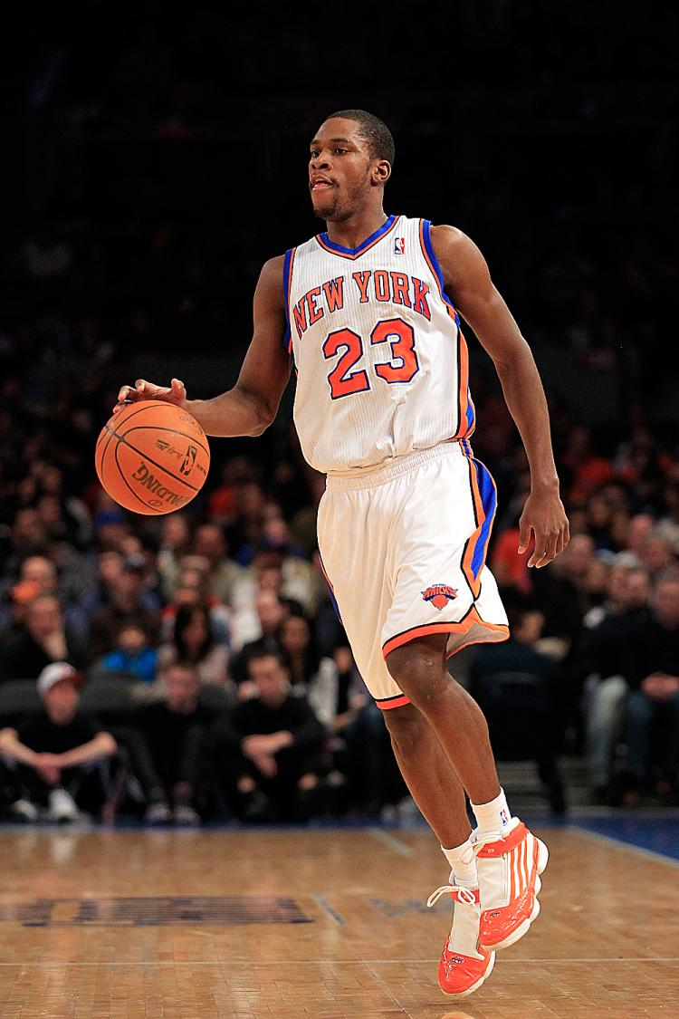 STEPPING UP: Toney Douglas's 28 points led the Knicks to victory over the Toronto Raptors on Tuesday. (Chris Trotman/Getty Images)