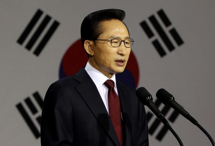 South Korean President Lee Myung-bak speaks during a press conference at the War Memorial on May 24, in Seoul, South Korea. President Lee announced he will impose sanctions on North Korea for sinking one of its naval ships. (Presidential House via Getty Images)