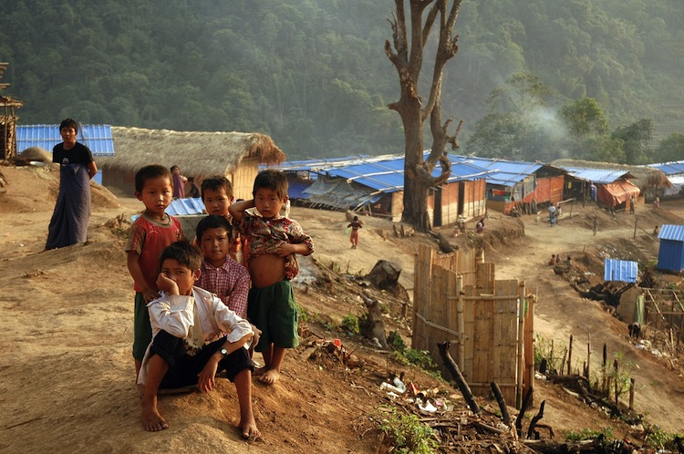 Ethnic Kachin children at an Internally Displaced People's camp in northern Kachin State, Burma, on the border with China on June 4, 2012. (Bodenham/AFP/Getty Images)