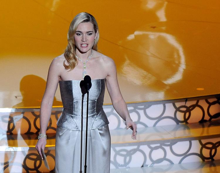 Actress Kate Winslet announces the winner for Best Actor at the 82nd Academy Awards at the Kodak Theater in Hollywood, California on March 7, 2010. (Gabriel Bouys/AFP/Getty Images)