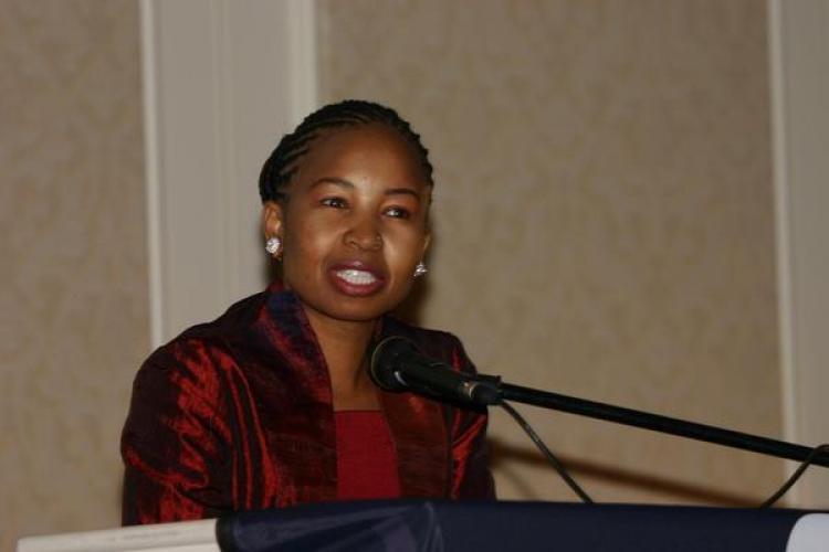 Katlego Nkwe speaking at Conference in Botswana. (Radcliffe Dockery)