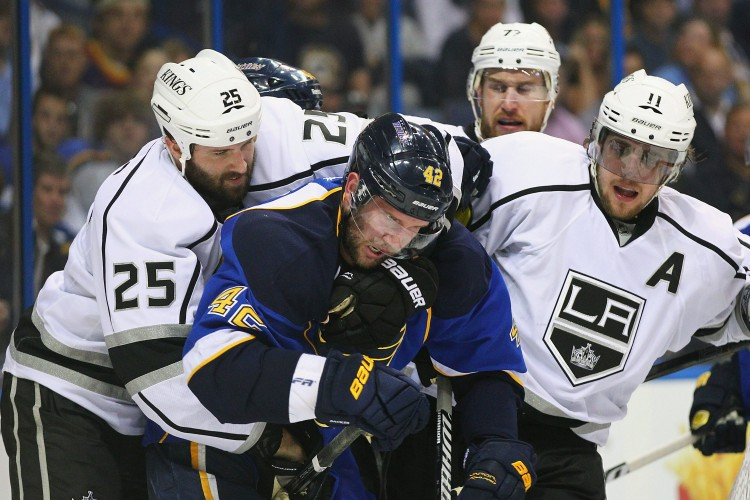 The Los Angeles Kings have to be the surprise story of the NHL playoffs thus far. The Western Conference's No. 8 seed has won all five of its road games and has knocked off the No. 1 seed Vancouver Canucks. The Kings won both games in St. Louis against the No. 2 seed Blues. (Dilip Vishwanat/Getty Images)